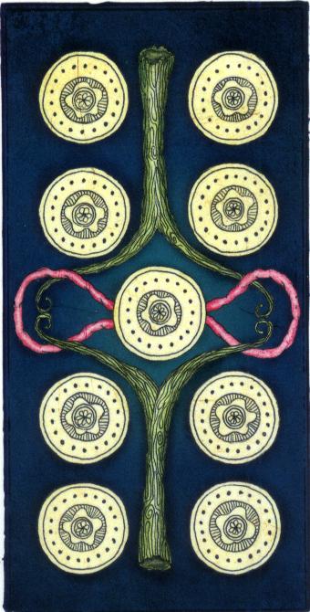运用欧洲常使用的马赛塔罗牌为蓝本,在56张小牌的地方,还是以简单的
